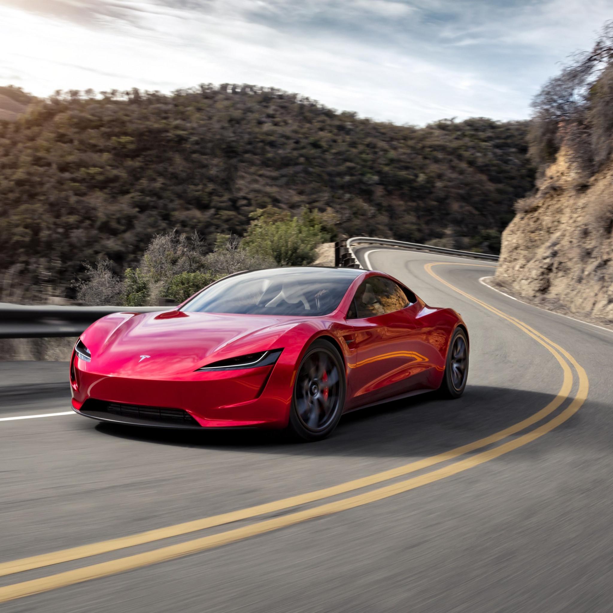 Download Wallpaper Tesla Roadster 2048x2048
