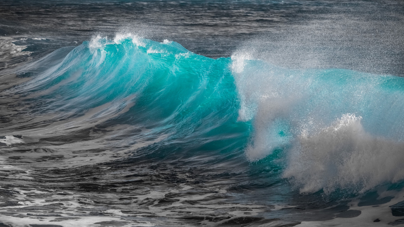 Turquoise sea wave wallpaper 1366x768