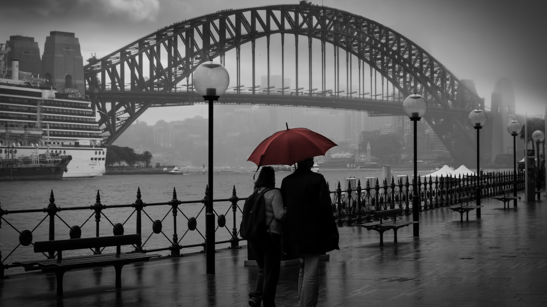 People visiting Circular Quay, Sydney wallpaper 1920x1080
