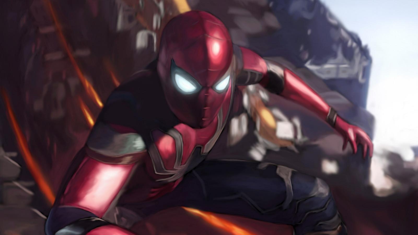 Download Wallpaper Spiderman In Avengers Infinity War 1600x900