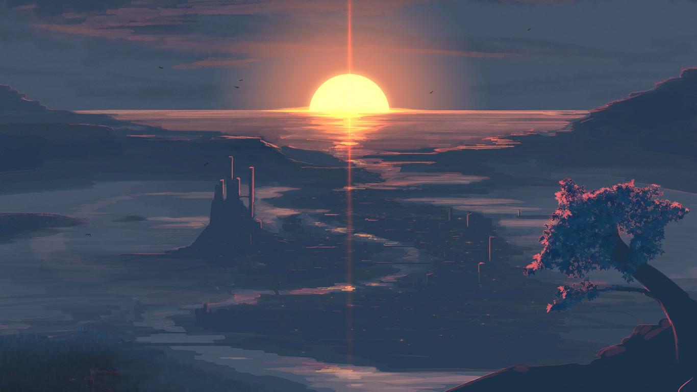 Download Wallpaper Digital Art Sunset 1366x768