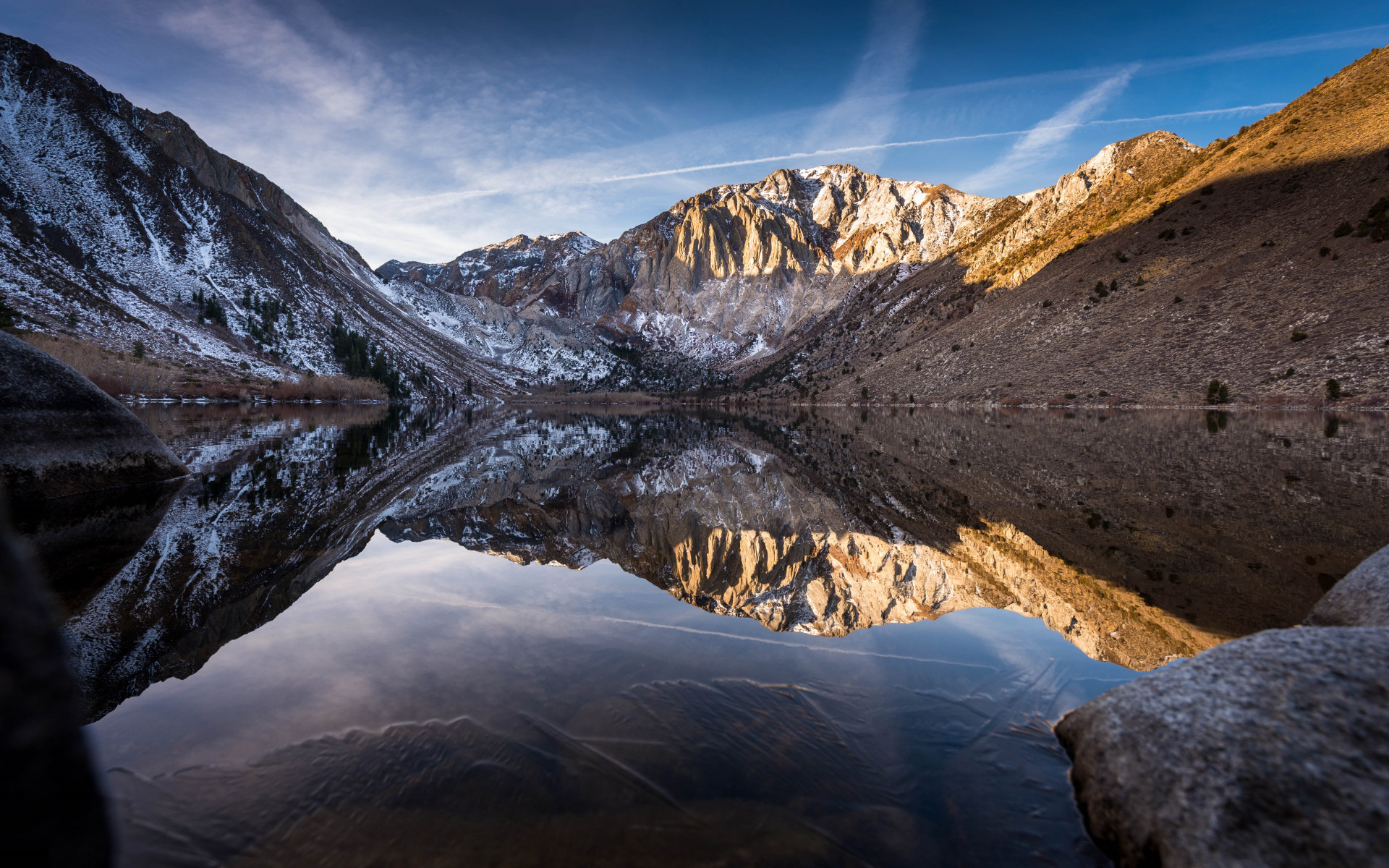Convict lake began to freeze | 1920x1200 wallpaper