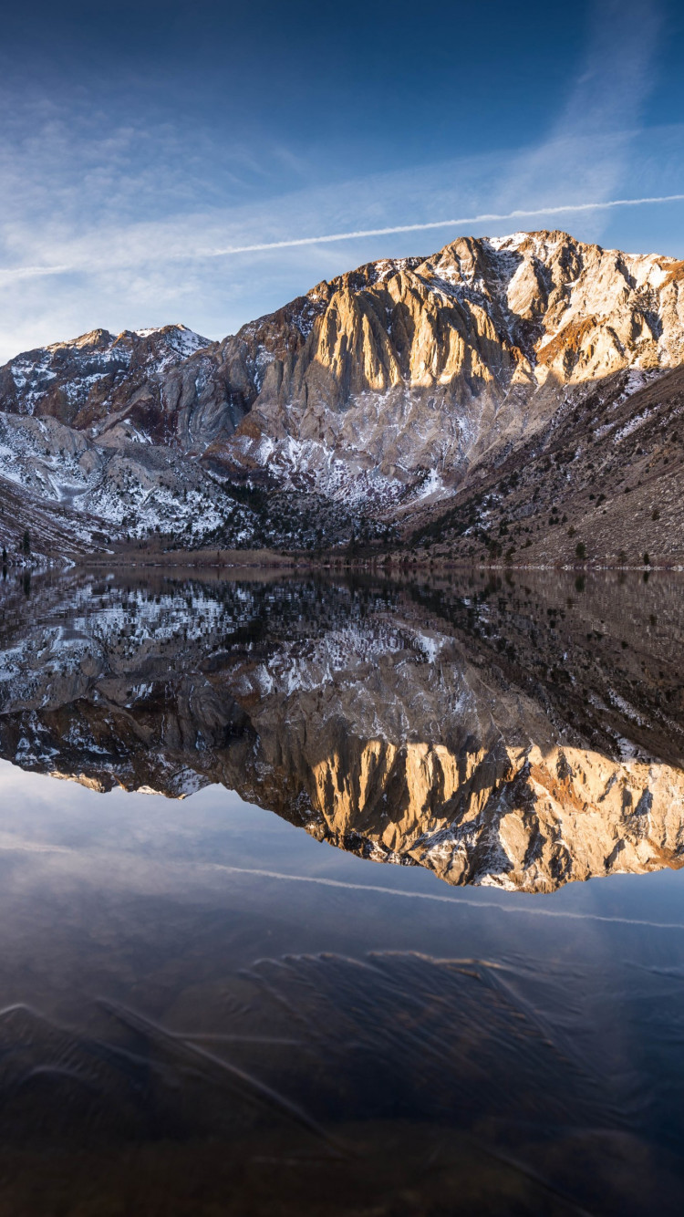 Convict lake began to freeze | 750x1334 wallpaper