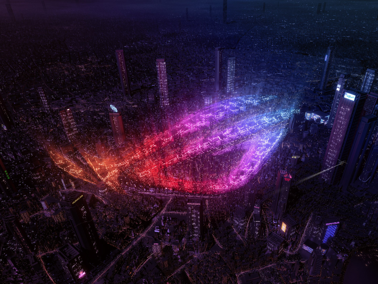 City lights by Asus ROG wallpaper 1280x960
