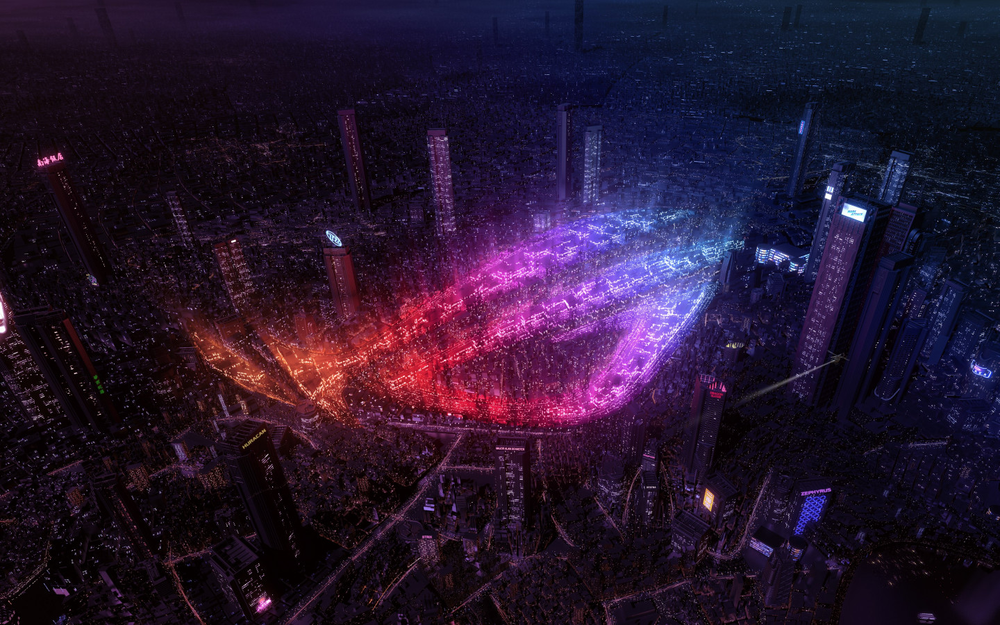 City lights by Asus ROG wallpaper 1440x900