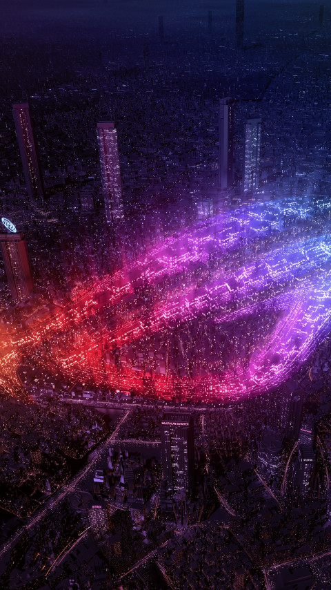 City lights by Asus ROG wallpaper 480x854