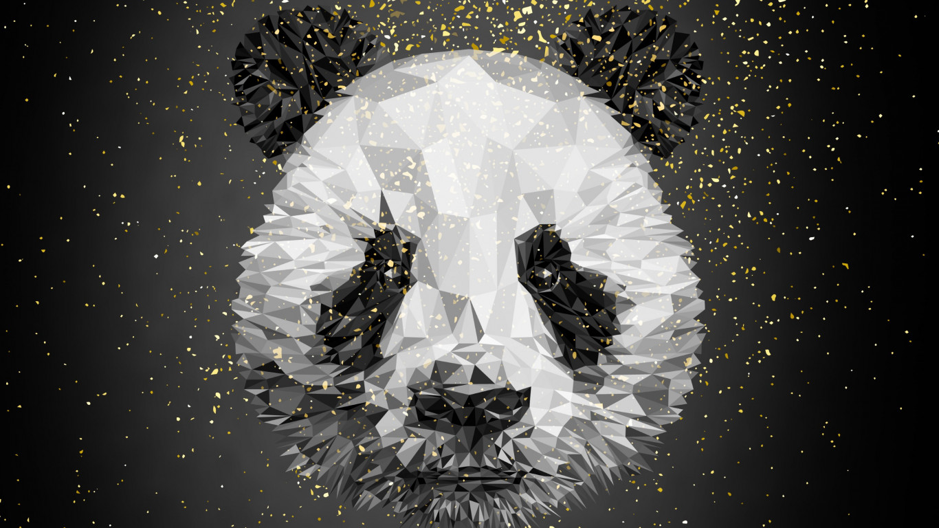 Panda bear illustration wallpaper 1366x768
