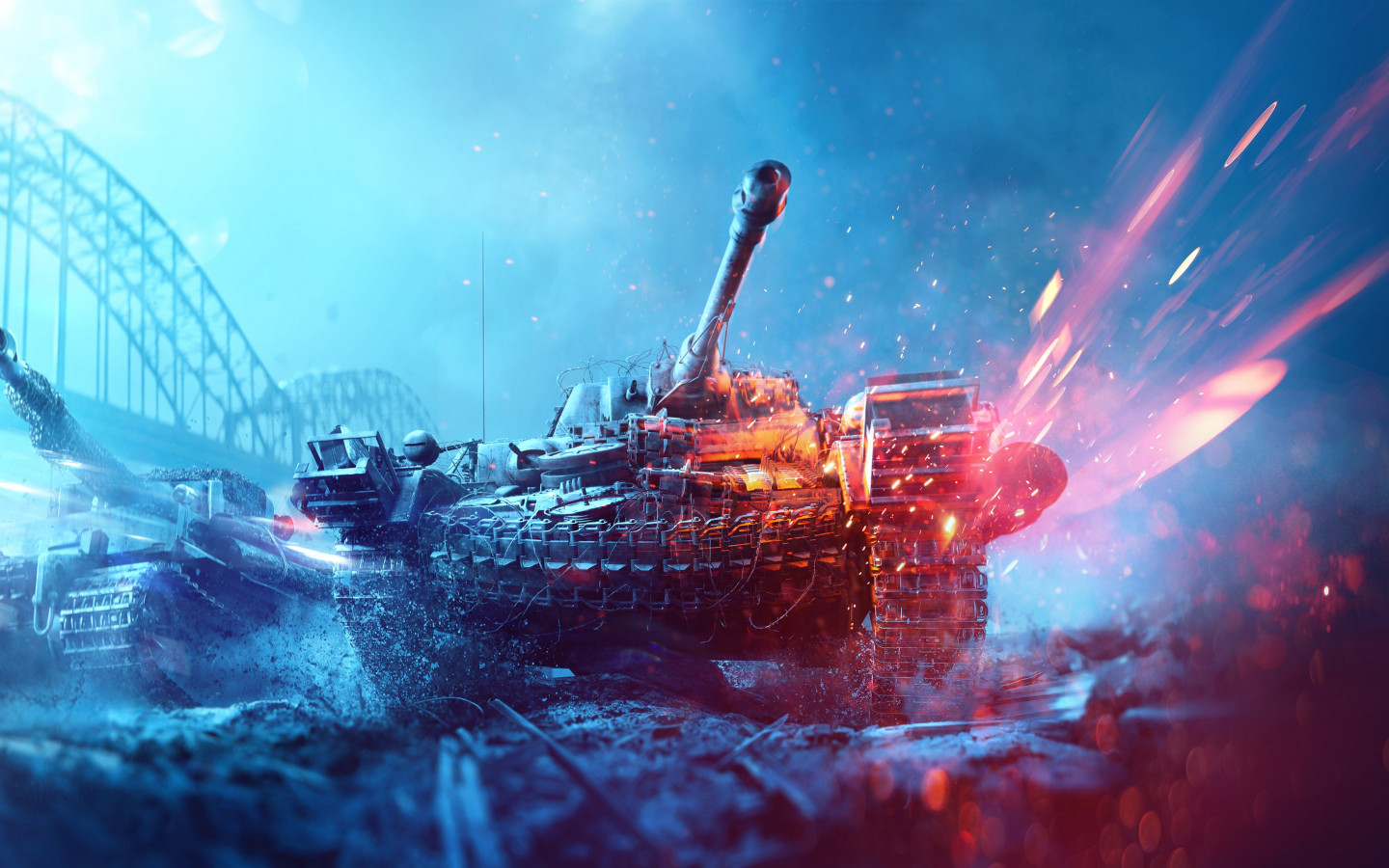 Battlefield 5 poster with tanks wallpaper 1440x900