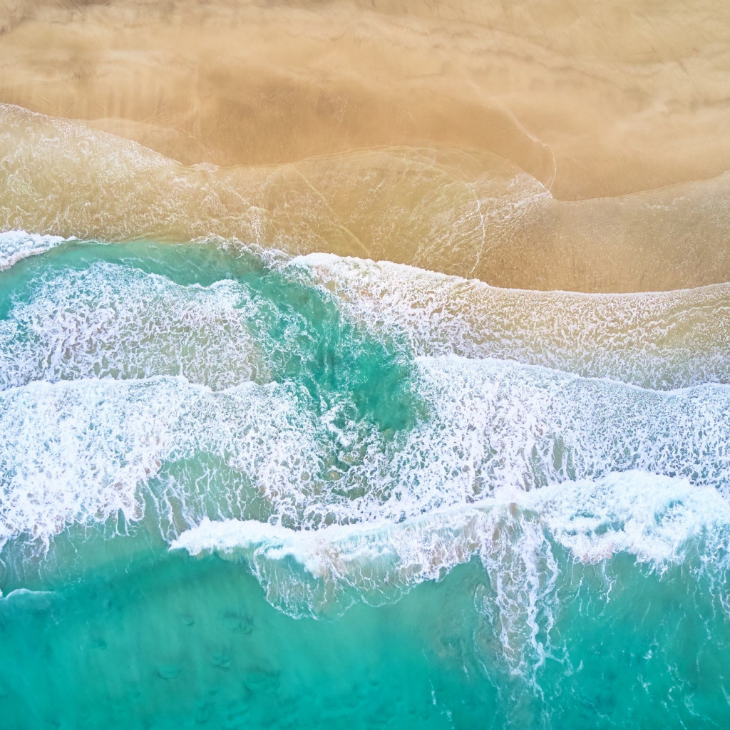 Aerial, waves, beach, Fredvang, Norway | 1024x1024 wallpaper