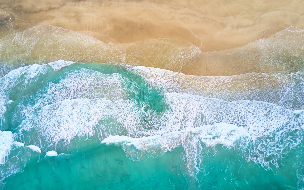 Aerial, waves, beach, Fredvang, Norway wallpaper 1280x800
