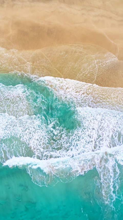 Aerial, waves, beach, Fredvang, Norway | 480x854 wallpaper