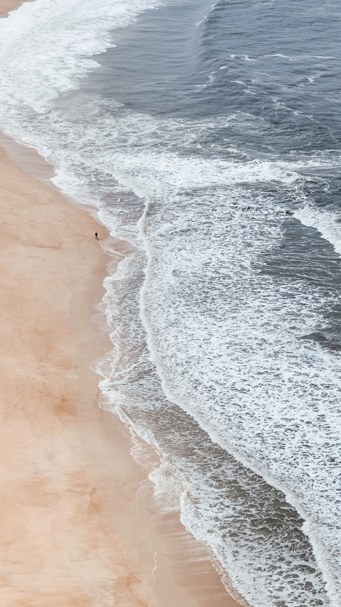 Super photo with Nazare beach, Portugal wallpaper 480x854