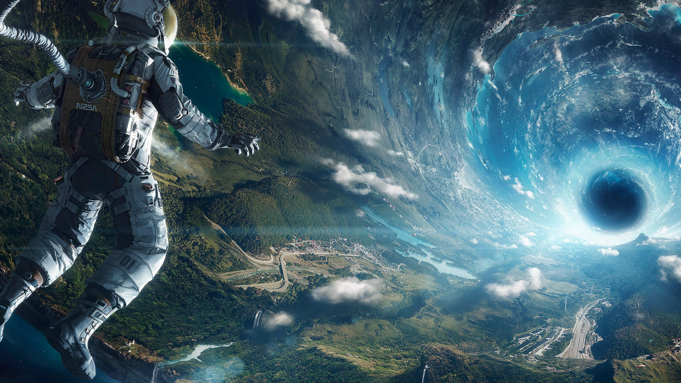 Travel into space wallpaper 1366x768