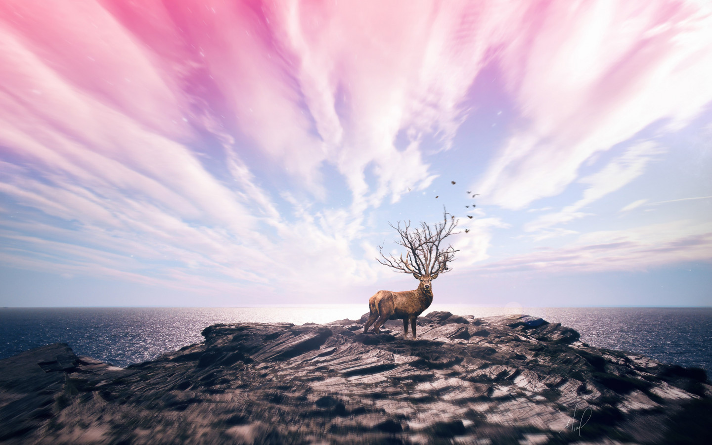 Digital art with deer wallpaper 1440x900