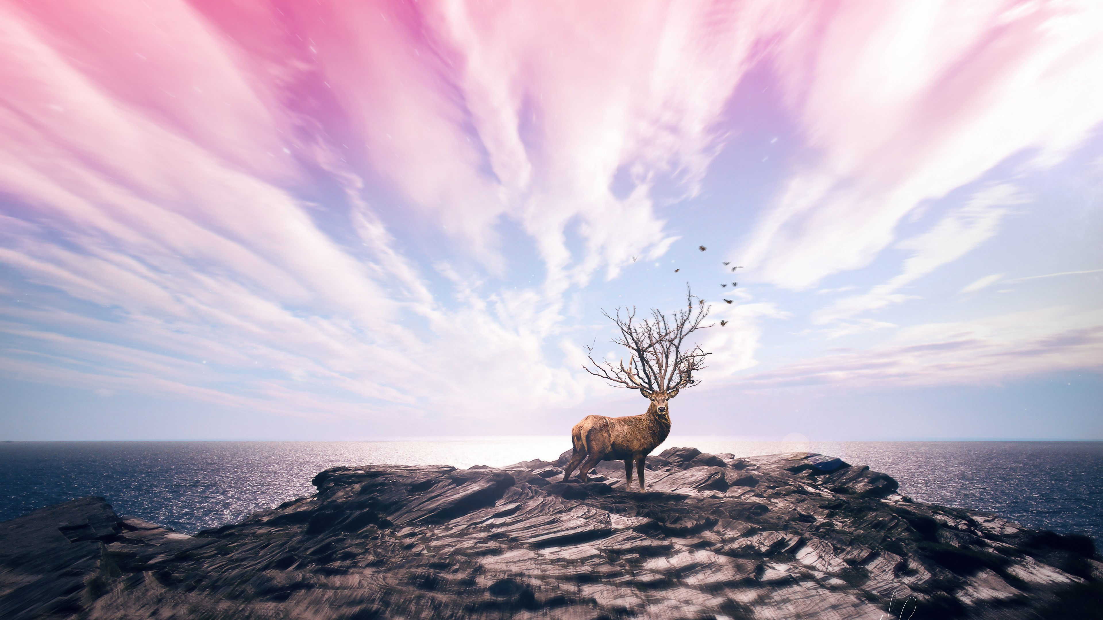 Digital art with deer wallpaper 3840x2160