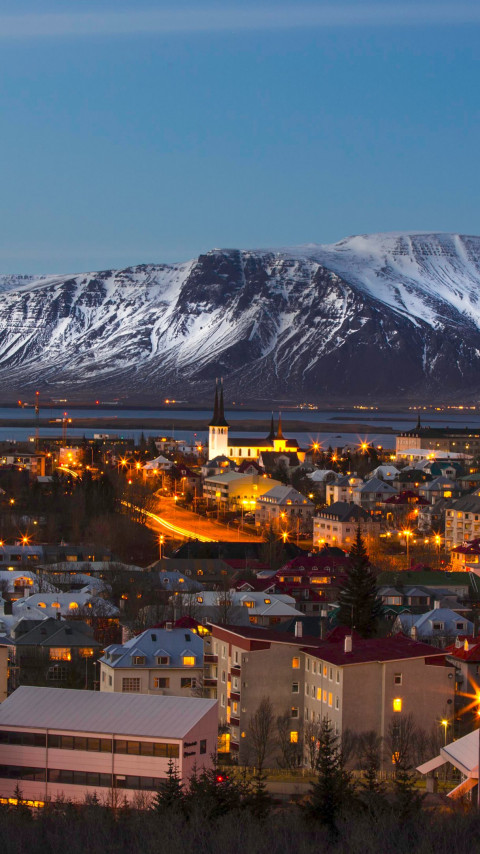 View over the Reykjavik city wallpaper 480x854