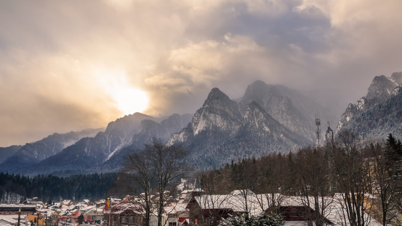 Busteni city in a Winter afternoon | 1366x768 wallpaper