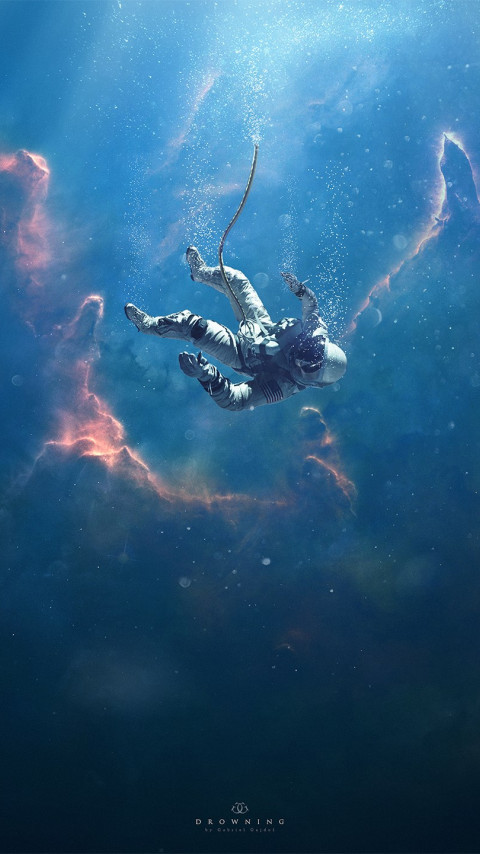 Astronaut, nebula, surreal, stars, space wallpaper 480x854