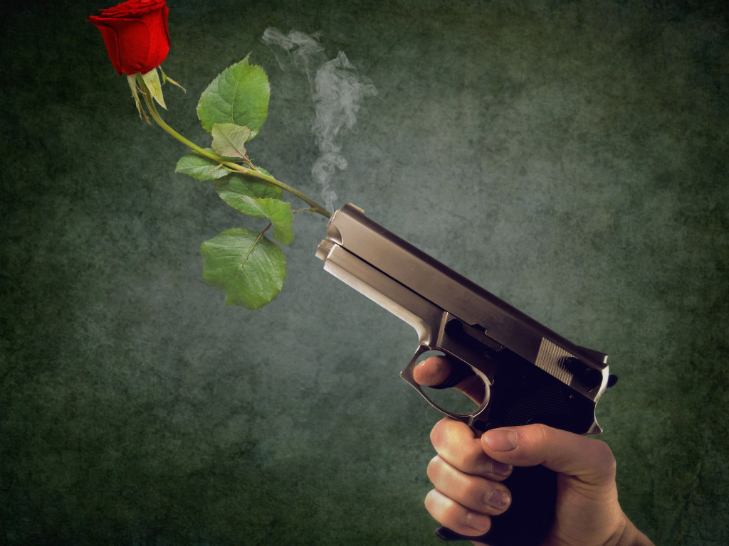 Peaceful act. Pistol and red rose wallpaper 1024x768