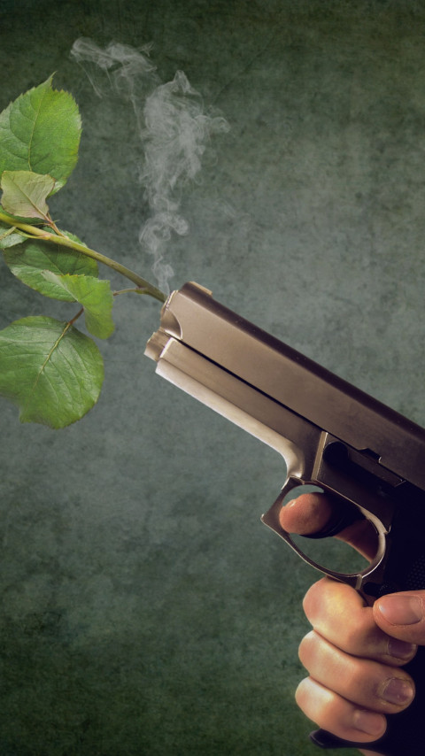 Peaceful act. Pistol and red rose wallpaper 480x854