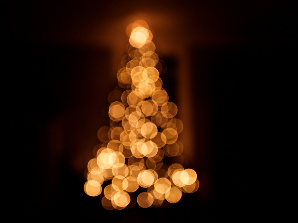 Bokeh Christmas tree wallpaper 1024x768