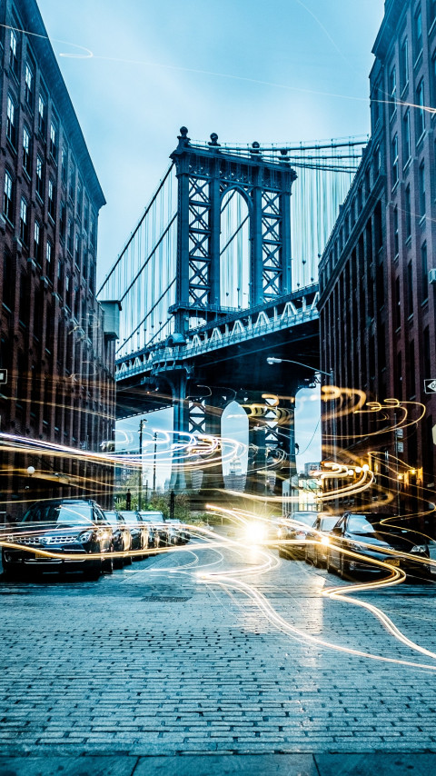 Light painting on New York streets wallpaper 480x854