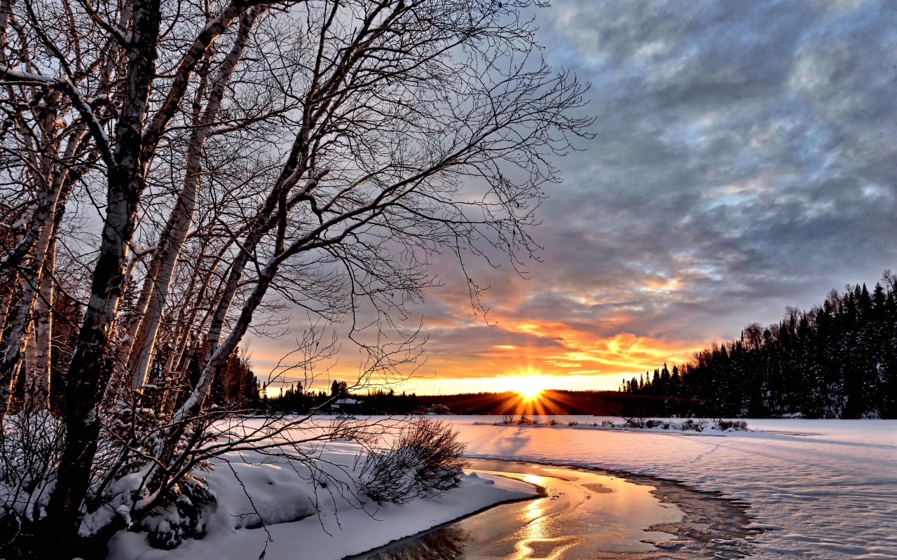 Sunset over the Winter landscape wallpaper 1280x800