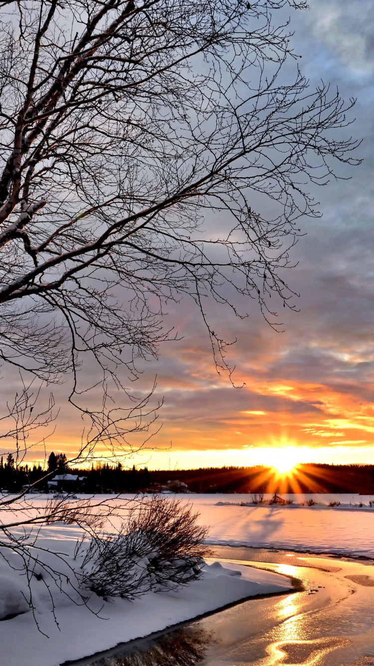 Sunset over the Winter landscape wallpaper 750x1334