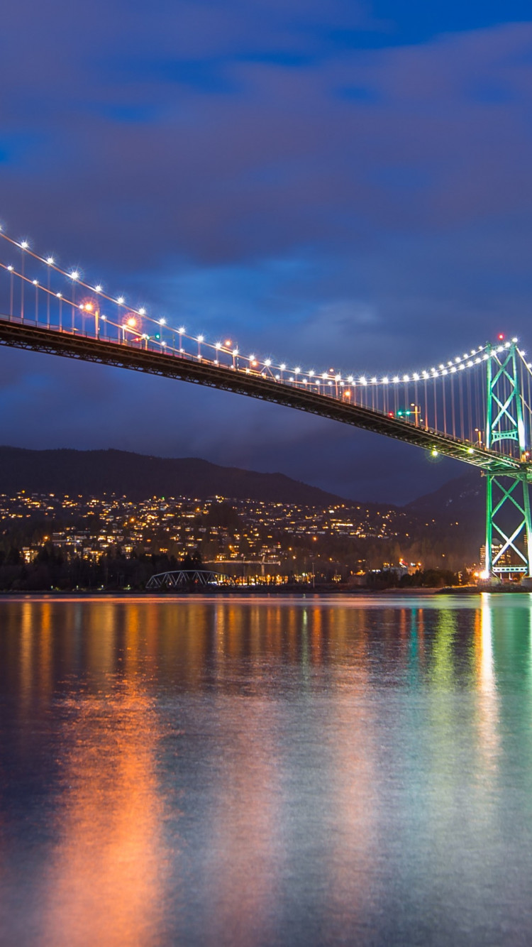 Lions Gate Bridge, Burrard Inlet, British Columbia | 750x1334 wallpaper