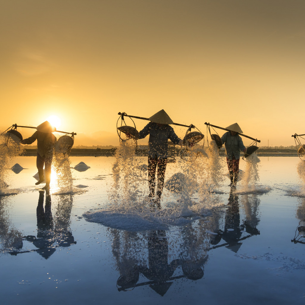 People harvesting salt in Vietnam wallpaper 1024x1024