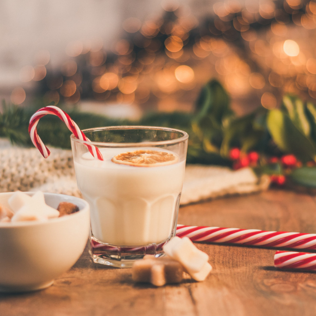 Seasonal Christmas sweets and cup of milk wallpaper 1024x1024