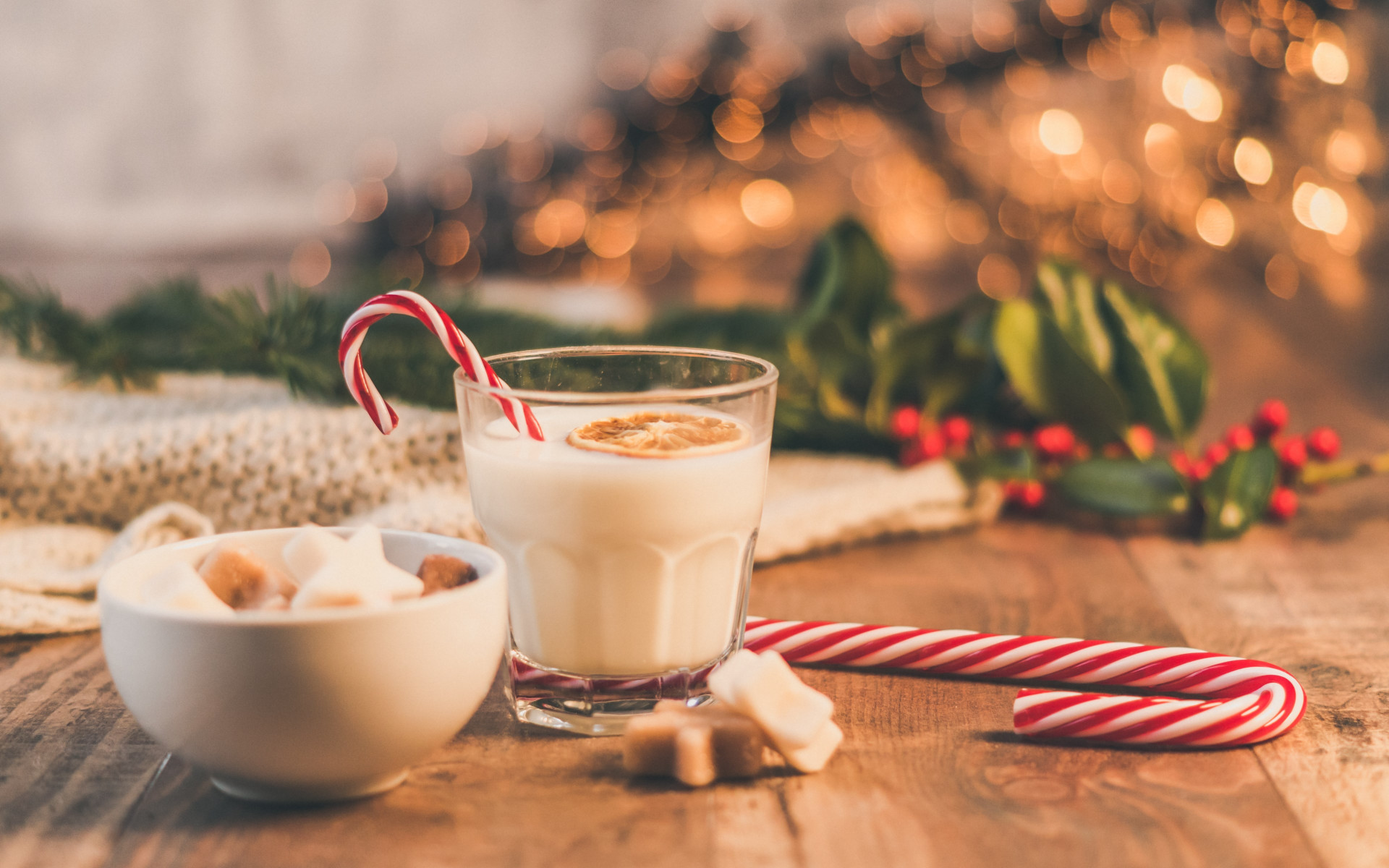 Seasonal Christmas sweets and cup of milk wallpaper 1920x1200