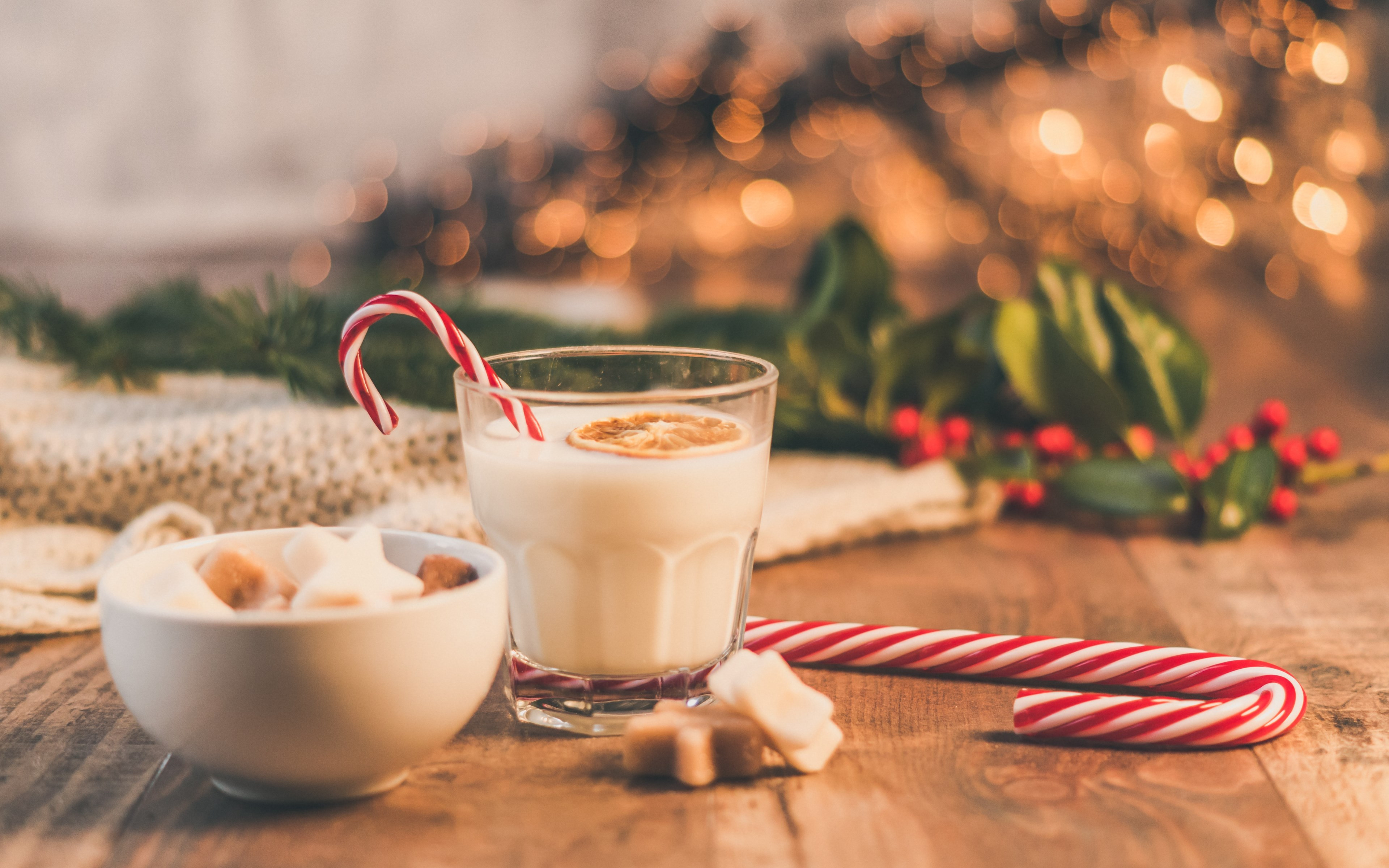 Seasonal Christmas sweets and cup of milk wallpaper 3840x2400