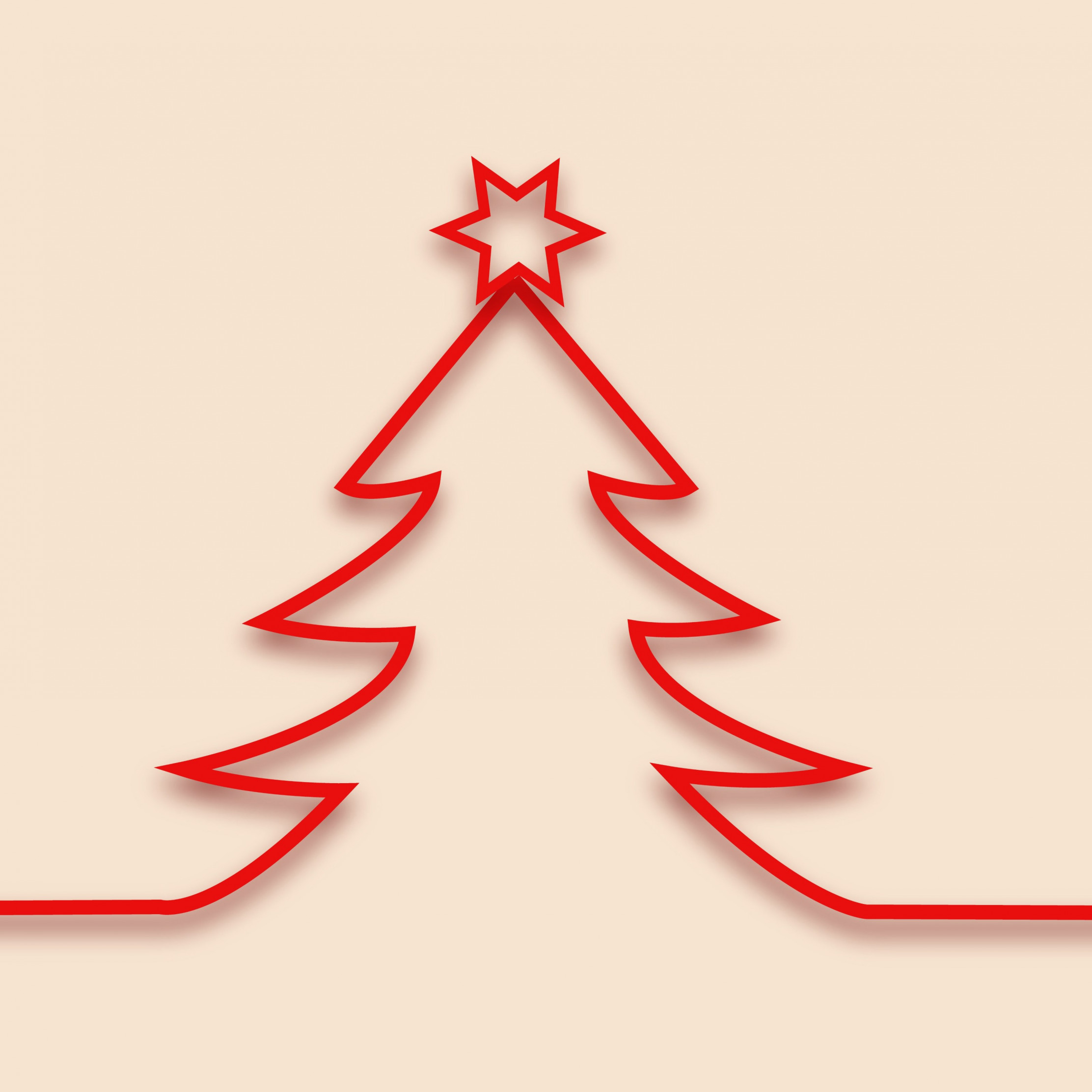 Red minimalistic Christmas tree design wallpaper 2224x2224