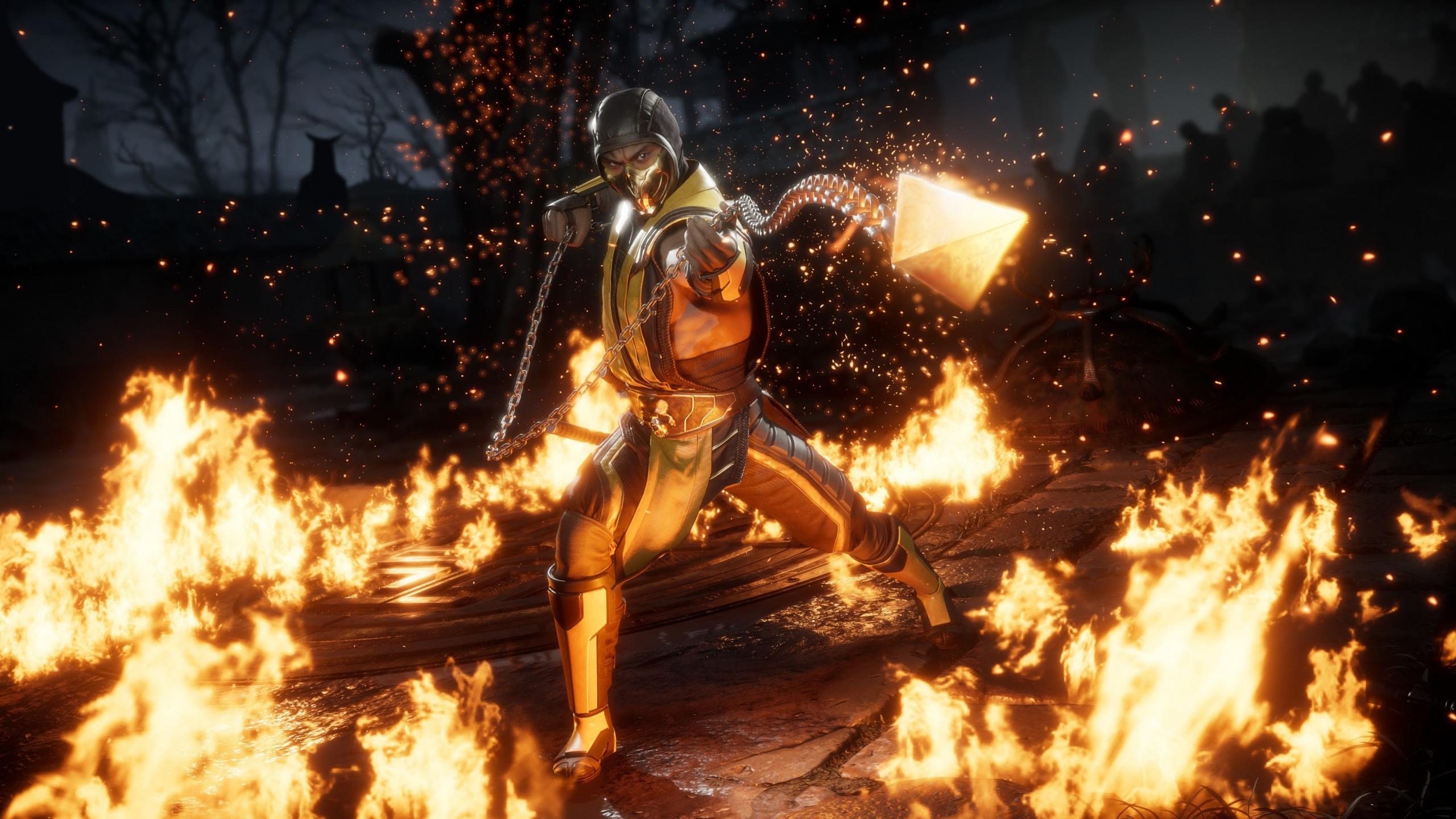 Download Wallpaper Mortal Kombat 11 Scorpion 2560x1440