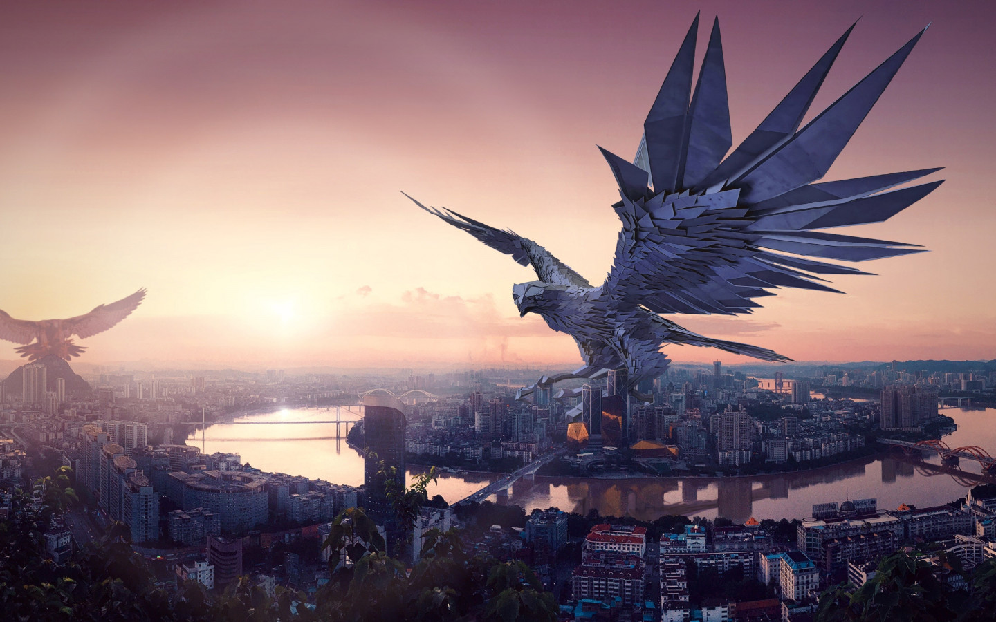 The falcon, protector of the city wallpaper 1440x900