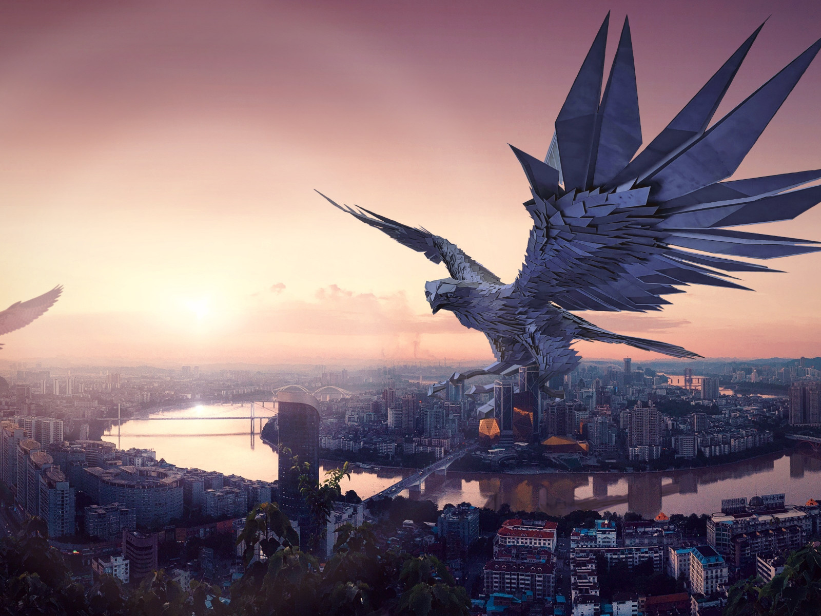 The falcon, protector of the city wallpaper 1600x1200