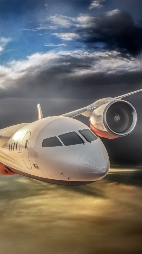 3D airplane concept wallpaper 480x854