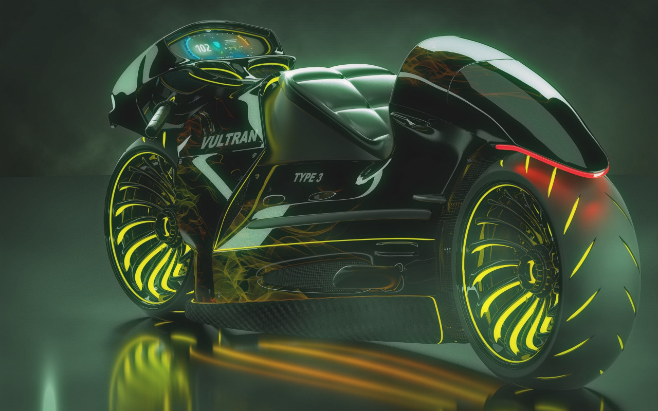 3D motorcycle concept wallpaper 1280x800