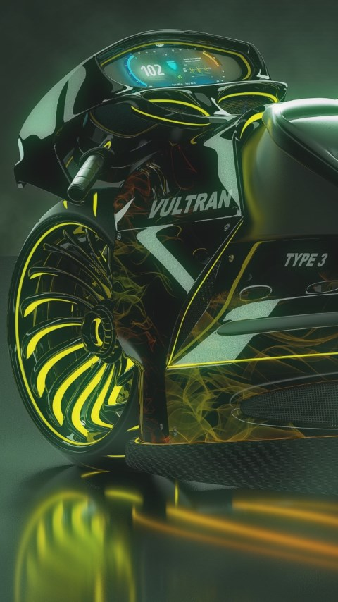 3D motorcycle concept wallpaper 480x854