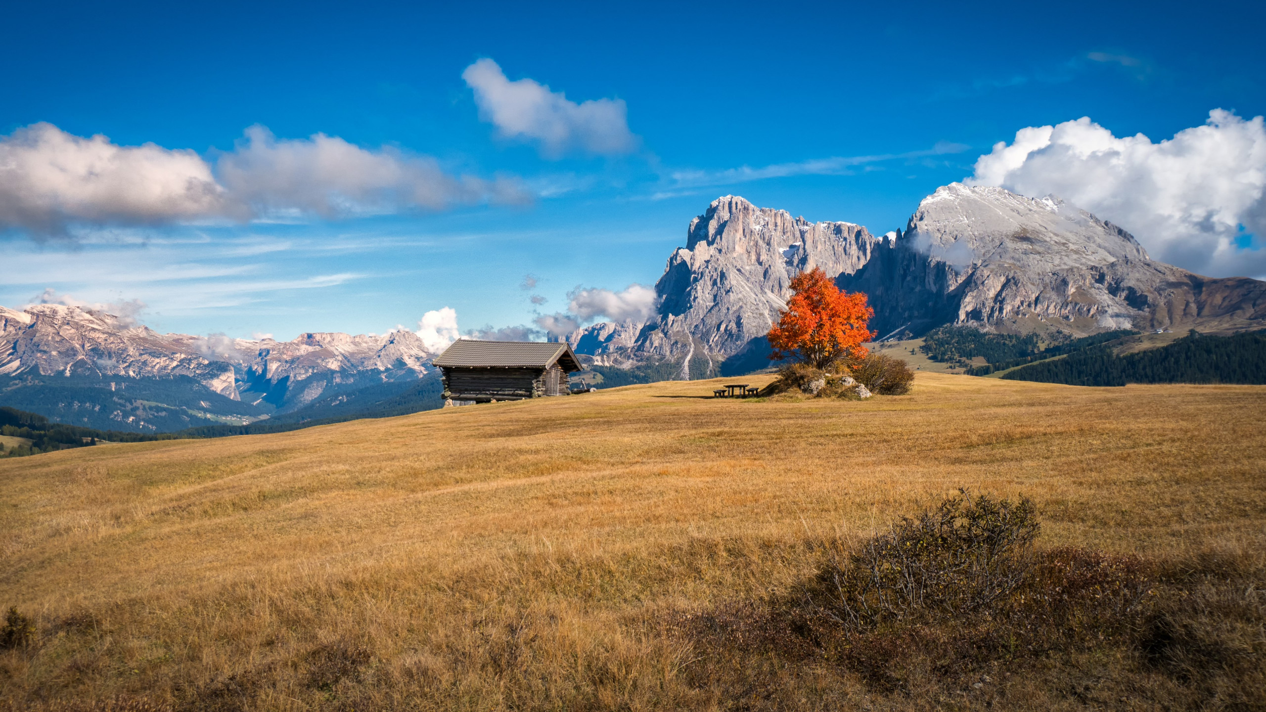 Perfect Autumn landscape from South Tyrol wallpaper 2560x1440