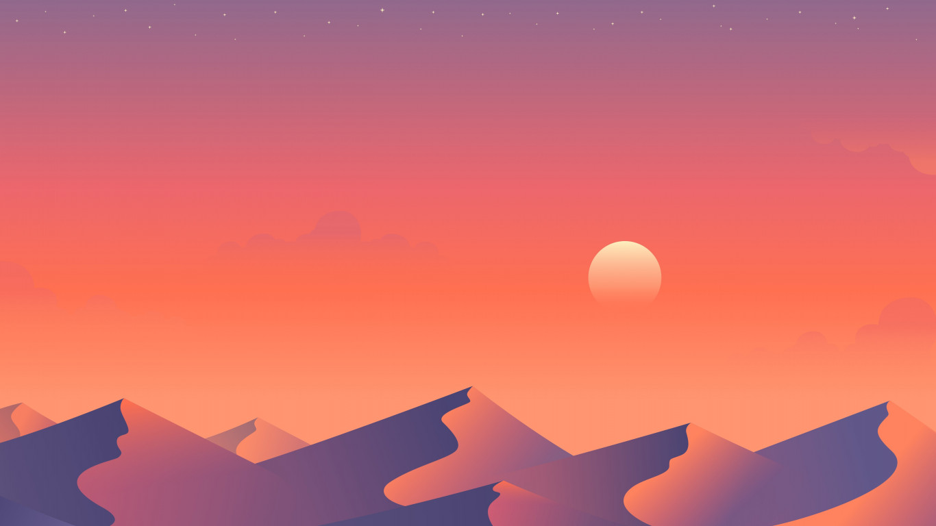 Illustration: Desert nights 2 wallpaper 1366x768