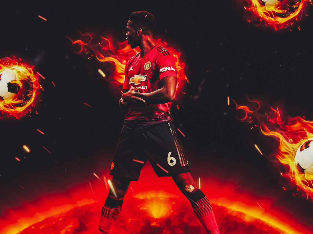 Paul Pogba for Manchester United wallpaper 1024x768
