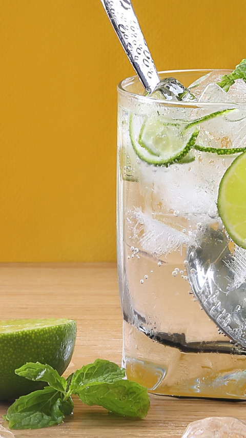 Juice, fresh, lime, water, ice cubes wallpaper 480x854