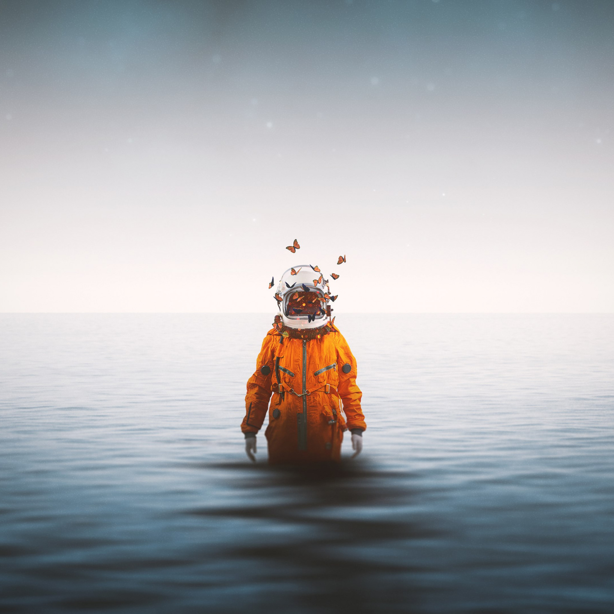 Lonely astronaut wallpaper 2048x2048