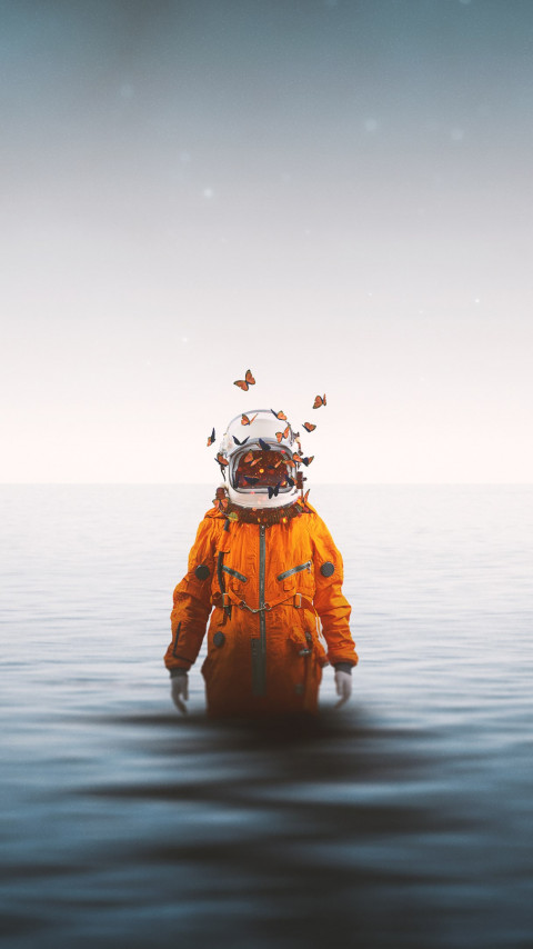 Lonely astronaut | 480x854 wallpaper