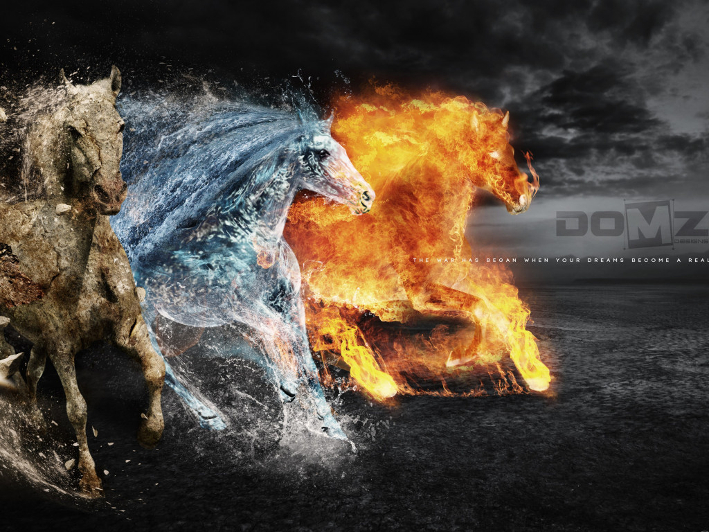 Horses of: Earth, Fire and Water wallpaper 1024x768