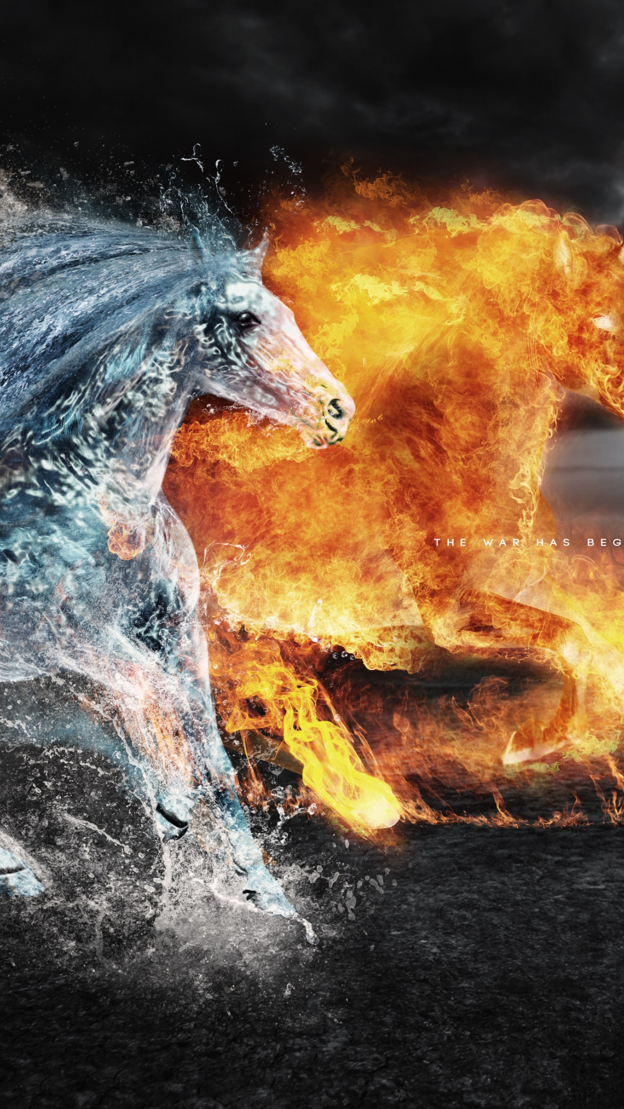 Horses of: Earth, Fire and Water wallpaper 1242x2208