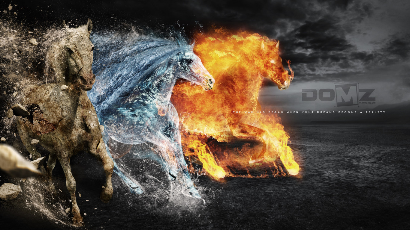 Horses of: Earth, Fire and Water wallpaper 1366x768