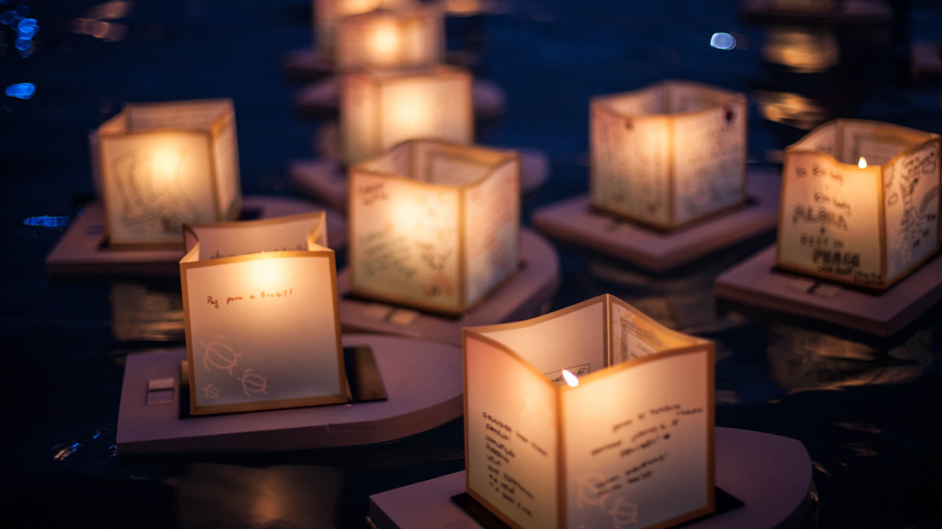 The Lantern Floating Ceremony wallpaper 1366x768
